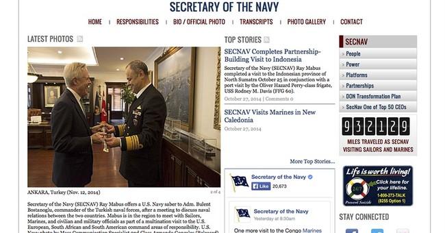 Navy secretary racks up 930K miles in world travel