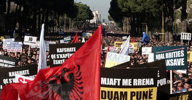 Anti-government protest in Albania's capital