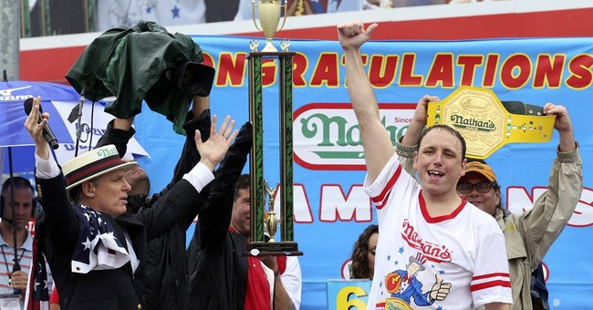 Joey Chestnut devours turkey to win eating contest