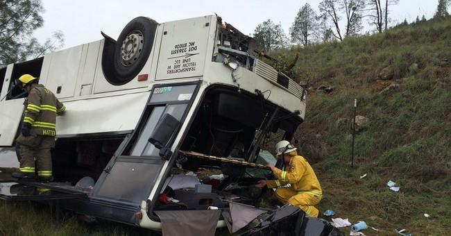 1 killed, dozens injured in California bus crash