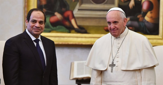 Francis meets Egyptian president on European trip