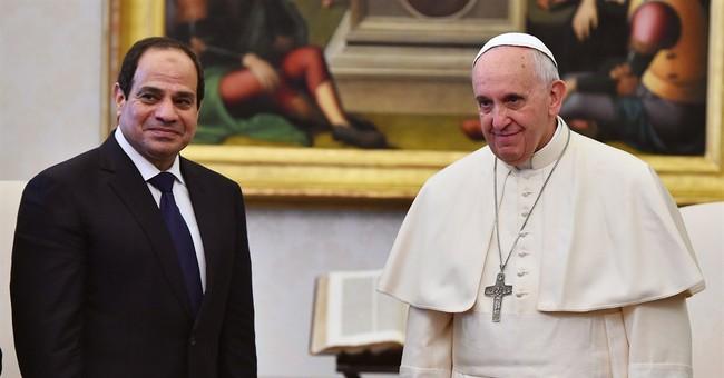 Francis meets Egyptian president on European trip