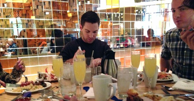 Visitors crowd Vegas buffets for a day of feasting