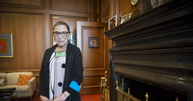 Justice Ginsburg on bench for Monday arguments