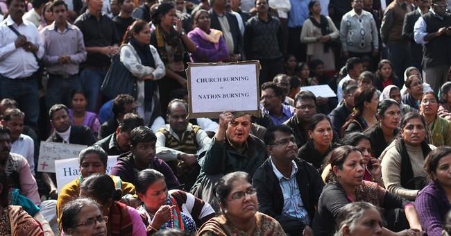 India Christians protest as fire destroys church