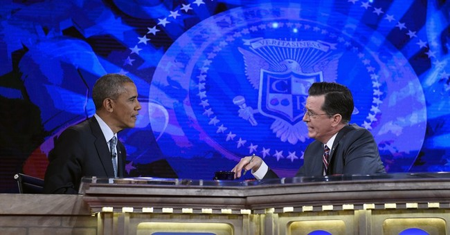 Obama riffs on his presidency with Stephen Colbert