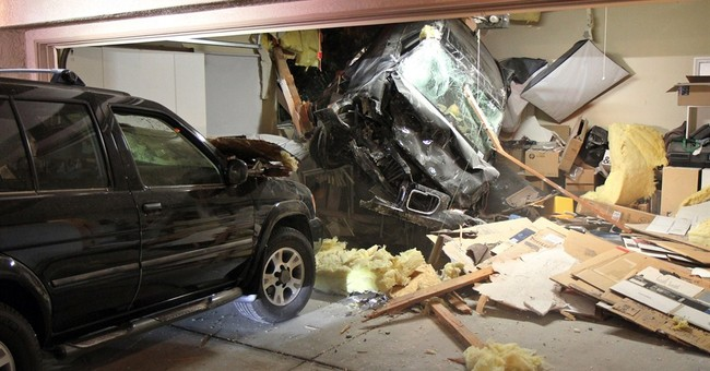 Car plunges through roof of California home