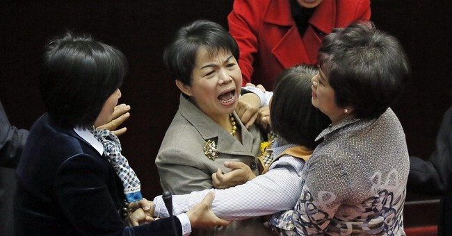 Image of Asia: Lawmakers scuffle in Taiwan