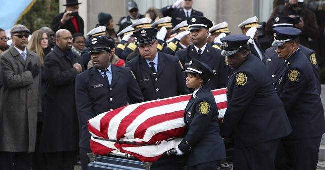 Female Philadelphia firefighter being laid to rest