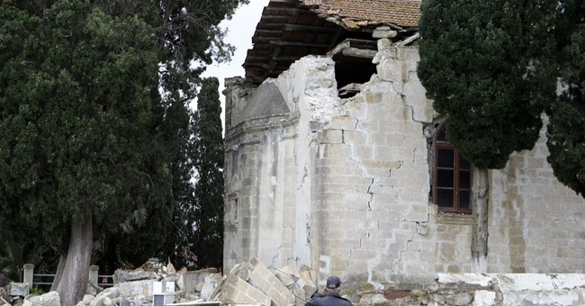 Tents set up for homeless from Greek earthquakes