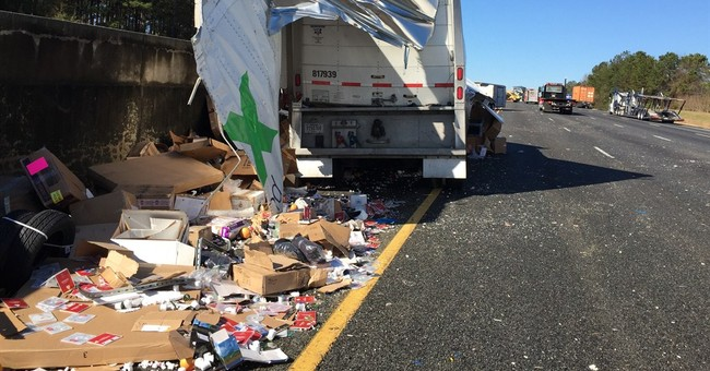 FedEx truck crashes in Georgia, spills packages