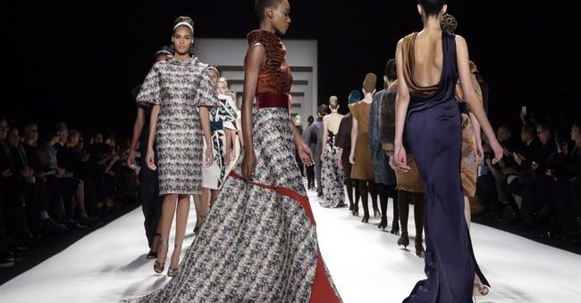 Geometric prints, luxe fabric at Carolina Herrera