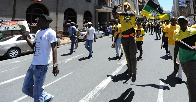 Bricks thrown at political rally in South Africa
