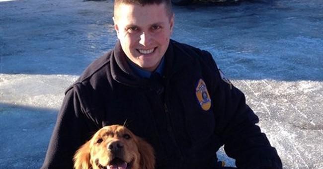Man says dog saved his life after snowmobile crash