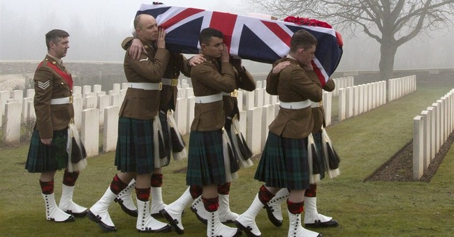 Britain reburies soldiers lost in World War I