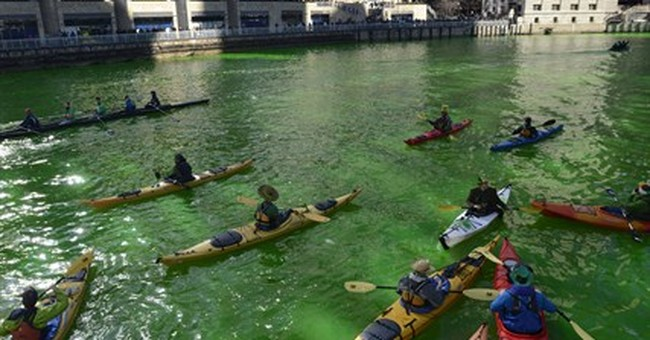 Chicago River dyed green for St. Patrick's Day