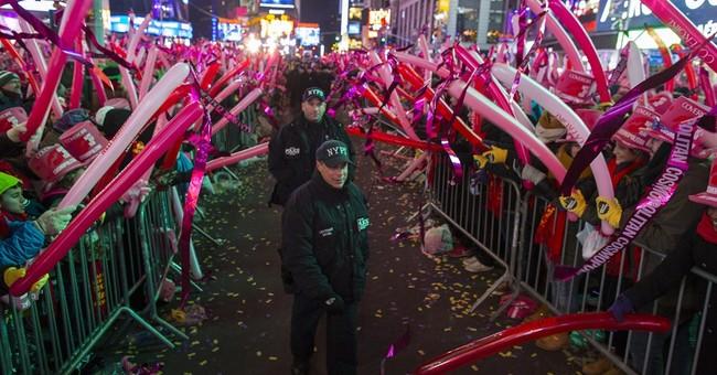 Crystal ball drops in New York, ushering in 2015