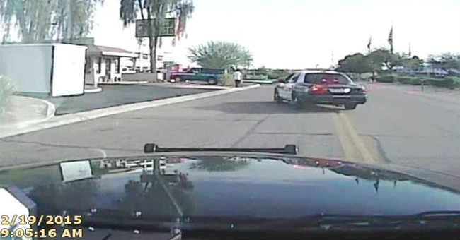 Video shows Arizona officer ramming into robbery suspect