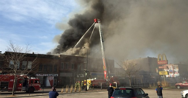 Fire devastates commercial block in north Minneapolis