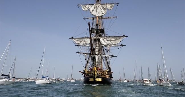 French replica of revolutionary frigate sets sail for Boston