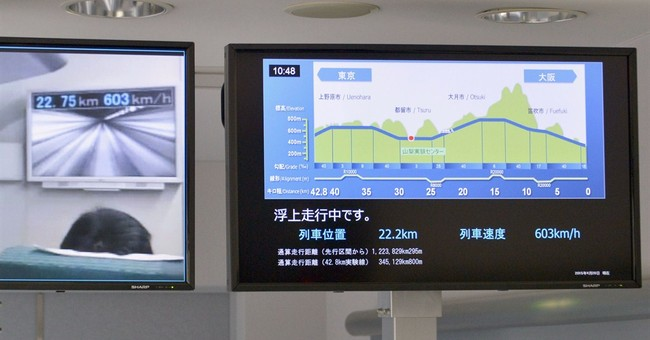 Japan's maglev train breaks own speed record at 603 kph