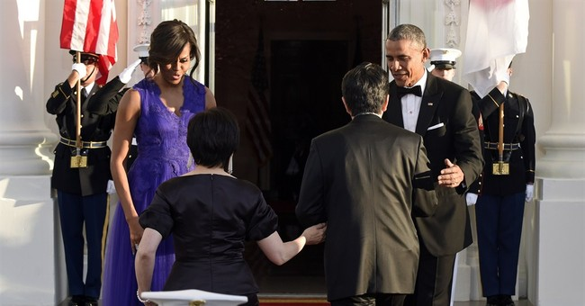 Michelle Obama dons Tadashi Shoji gown at Japan state dinner