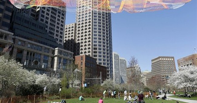 Giant billowing aerial sculpture installed over Boston park