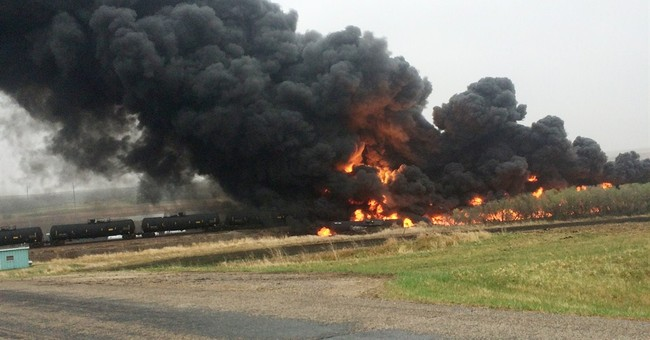 Train hauling crude from ND oil patch derails, catches fire