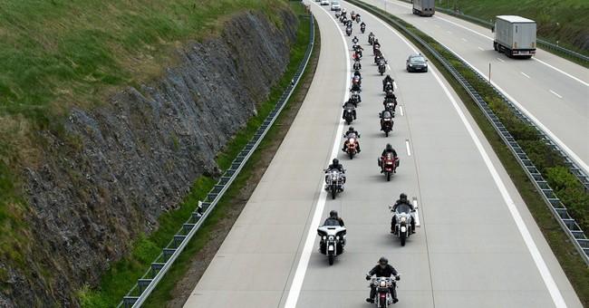 Russian Night Wolves bikers mark Nazi surrender in Berlin
