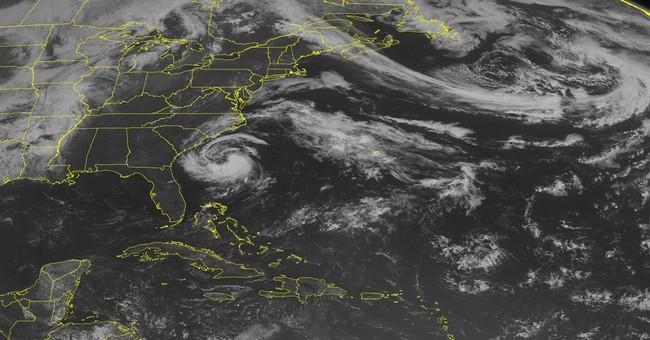 Tropical storm Ana, a bit weaker, near coast of Carolinas