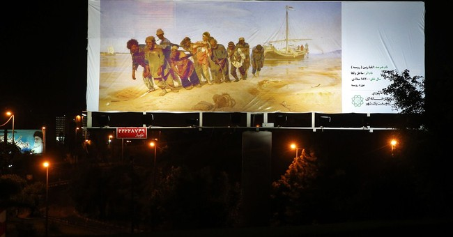 Copies of famous artworks replace ads on Tehran billboards