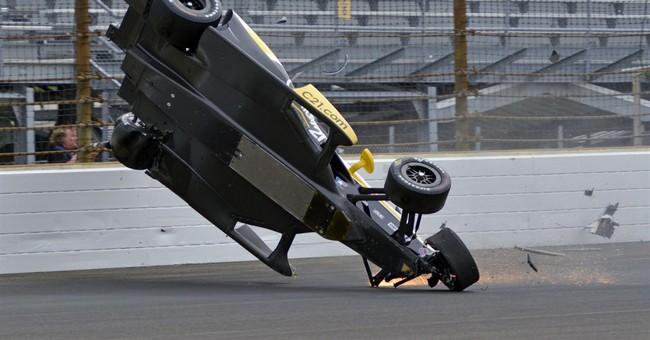 Newgarden flips car in Indianapolis 500 practice