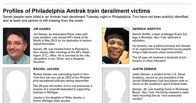 Profiles of Philadelphia Amtrak train derailment victims