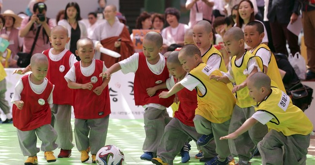 Image of Asia: Little monks at play in South Korea