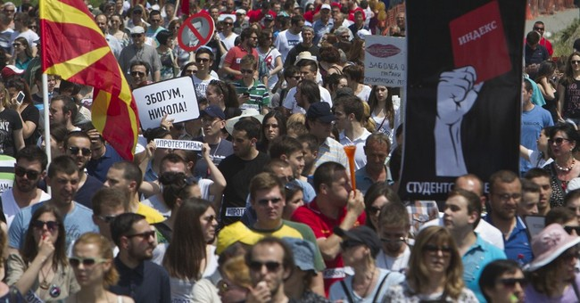 Macedonians in protest to demand government's resignation