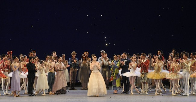 Glittering gowns mix with glittering tutus at ballet gala