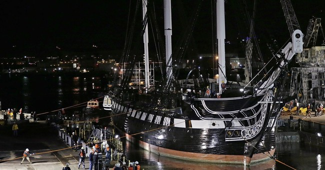 USS Constitution warship moves to dry dock for restoration