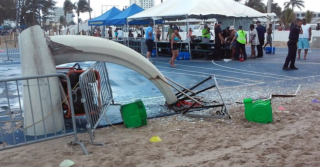 Police: 3 children hurt when waterspout uproots bounce house