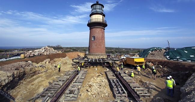 Iconic Martha's Vineyard lighthouse begins move inland