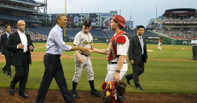 Obama attends congressional baseball game before trade vote