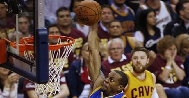 The Latest: Warriors rebound, rout Cavs 103-82, even finals