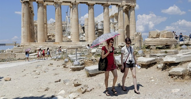 Tourists on holiday coping with Greece's financial crisis
