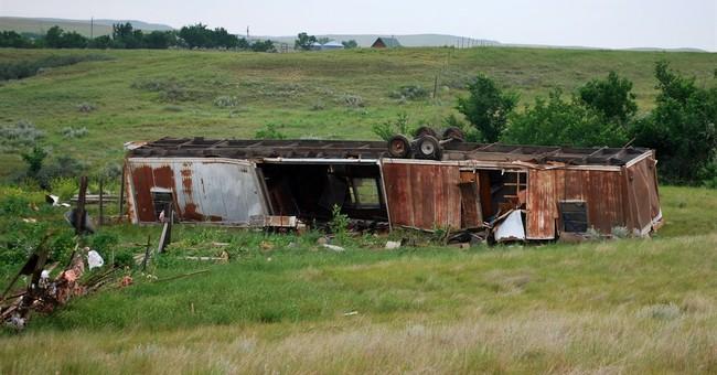 Tornado tosses mobile home 60 feet, injuring Montana man