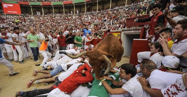 1 Australian gored, 2 injured in fast 2nd Pamplona bull-run