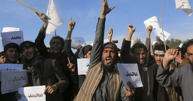 Afghans protest French weekly's prophet cover for third day