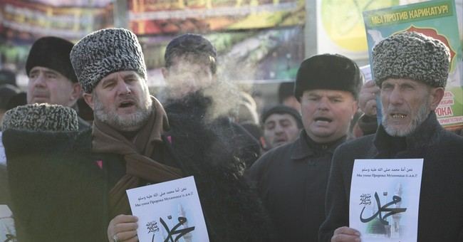 Tens of thousands protest Charlie Hebdo in Russia's Caucasus