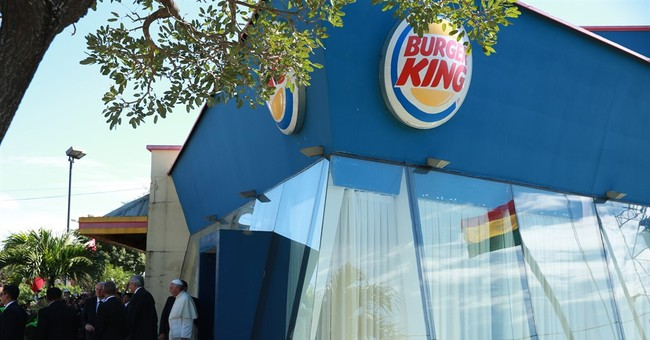 Pope Francis changes in Burger King before Mass in Bolivia