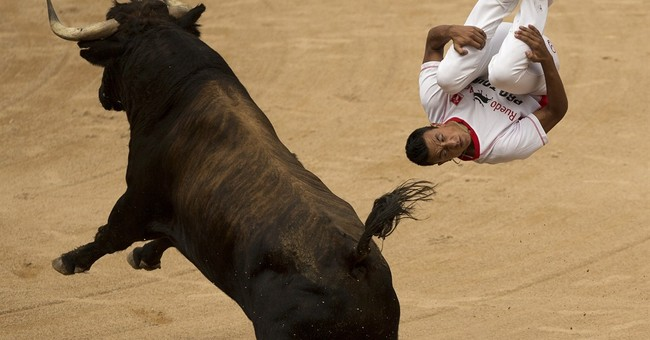 Large crowd at Pamplona for bull run but no one gored