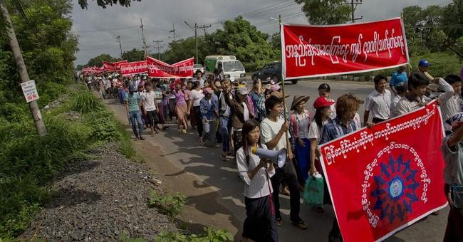 Myanmar workers demonstrate for higher minimum wage