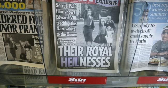 Tabloid publishes images of future queen giving Nazi salute